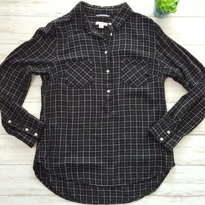 Merona rayon check pop over blouse size M